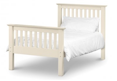 Barcelona Bed 90cm - High Foot End - Stone White