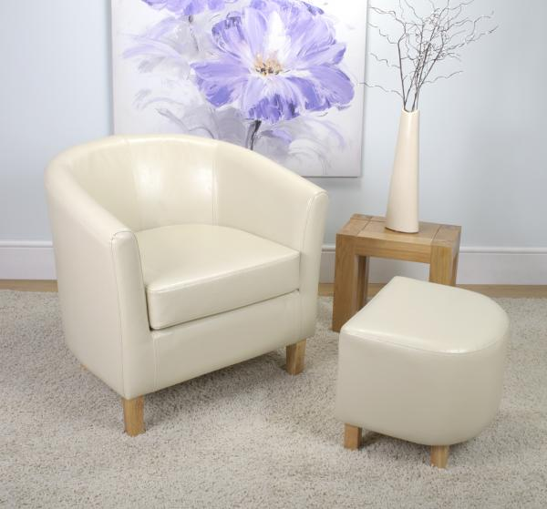 Bonded Leather Ivory Tub Chair Set