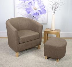 Linen Effect Cinnamon Tub Chair Set