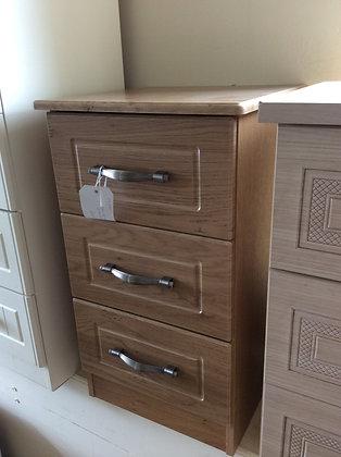 Oak Style 3 Drawer Bedside