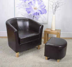 Bonded Leather Brown Tub Chair Set