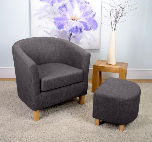 Linen Effect Charcoal Tub Chair Set