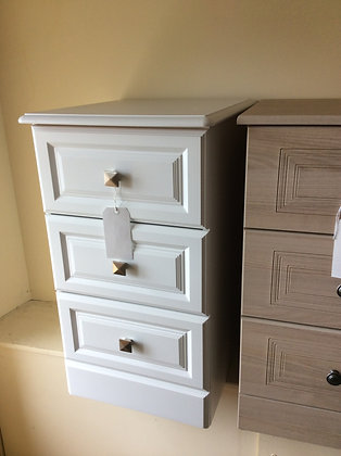 3 Drawer Bedside - White