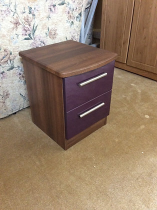 Aubergine & Wood Effect 2 Drawer Chest
