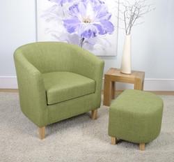 Linen Effect Lime Tub Chair Set