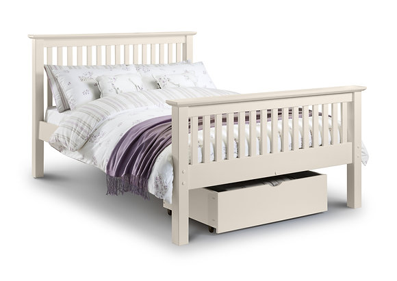 Barcelona Bed 135cm - High Foot End - Stone White