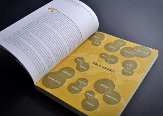 Gráficamente, en el libro se desarrollan infografías y motivos orgánicos que remiten a estructuras celulares que entran en contacto y se relacionan entre sí, como metáfora de lo que fueron los diferentes laboratorios.