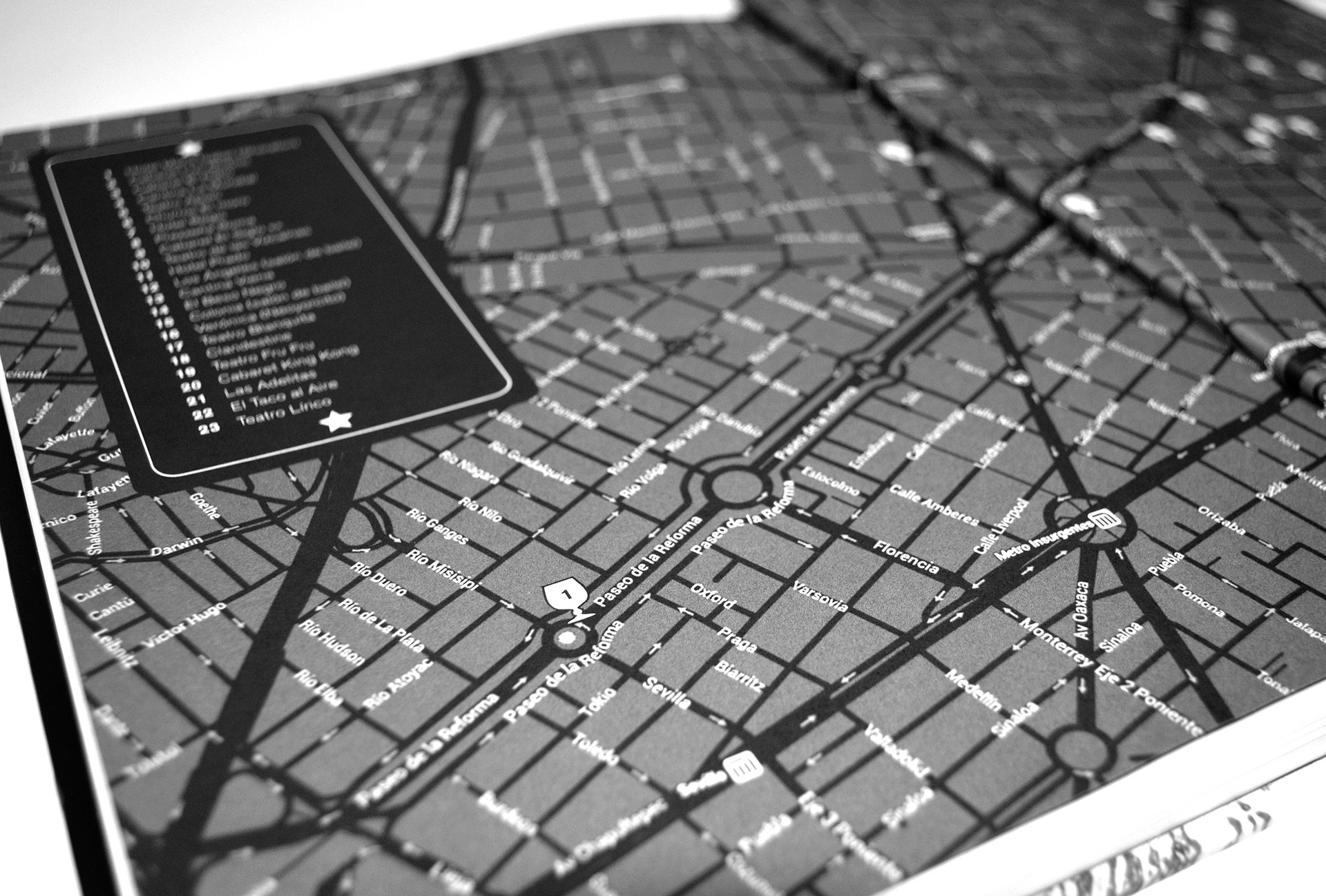 Un mapa de la ubicación de aquellos lugares de la noche.