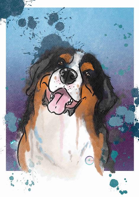 Pet Portrait Illustration Style