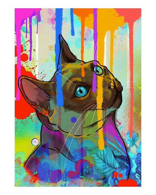 Pet Portrait Illustration Style - Siames
