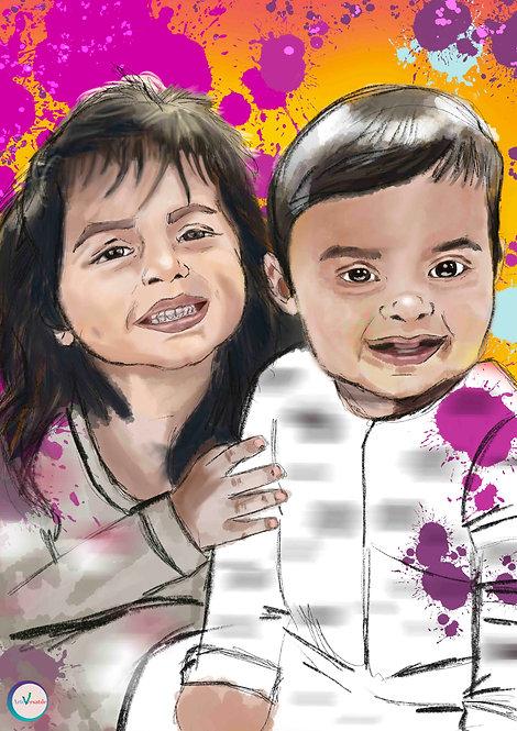 Portrait Illustration Style -  2 People
