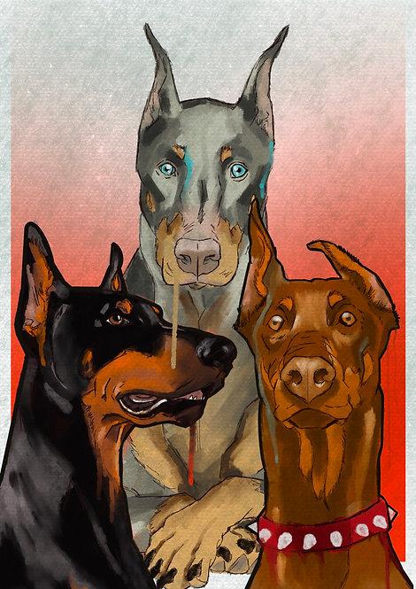 Pet Portrait Illustration - 3 PETS