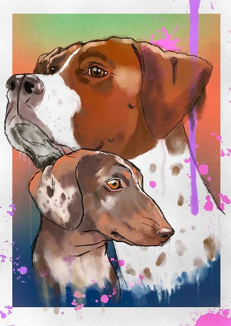 Pet Portrait Illustration - 2 PETS