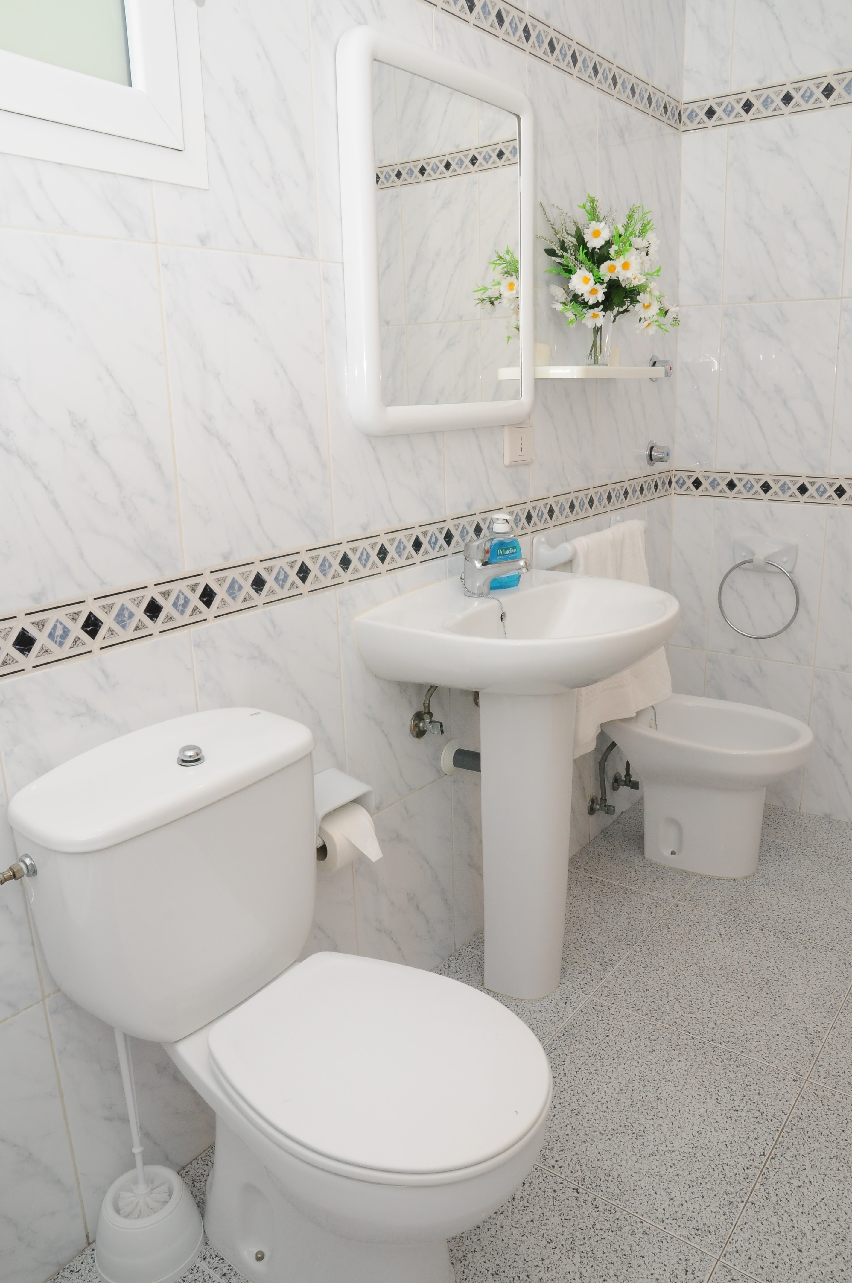 Toilet Room with bath and bidet