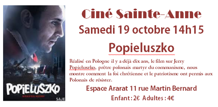 Annonce projection Popielusko 19 octobre