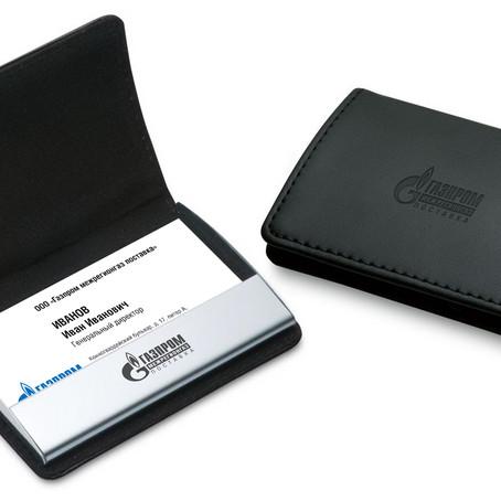 Кожаный футляр для визитных карточек с нанесением логотипа