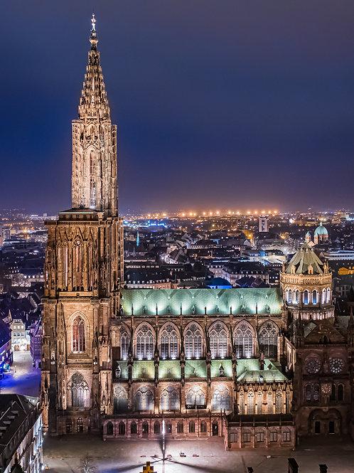 La cathédrale de Strasbourg la nuit