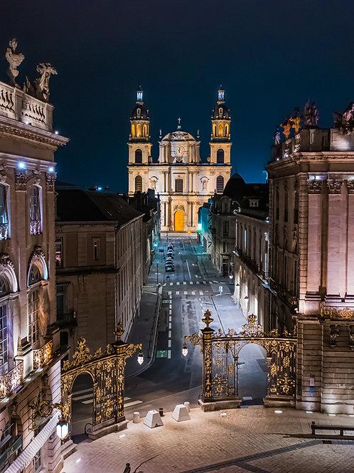 La cathédrale de Nancy la nuit