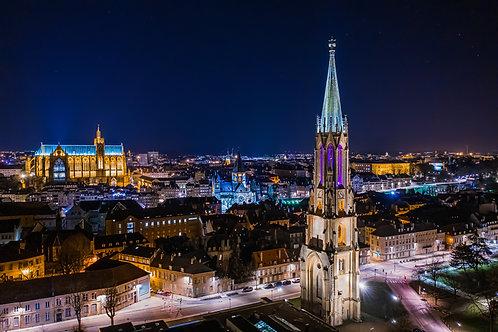 Temple de Garnison de Metz la nuit