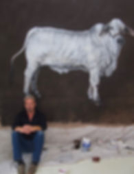 Tobias Keene in his studio, with 'The Bull'