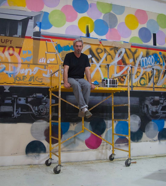 Tobias Keene in his studio, with a work in progress