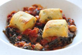 Spinach, Chickpea and Tomato Stew, Potato dumplings
