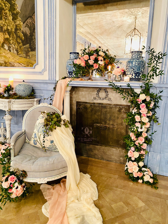 Fireplace flowers for a Welcome Baby Party