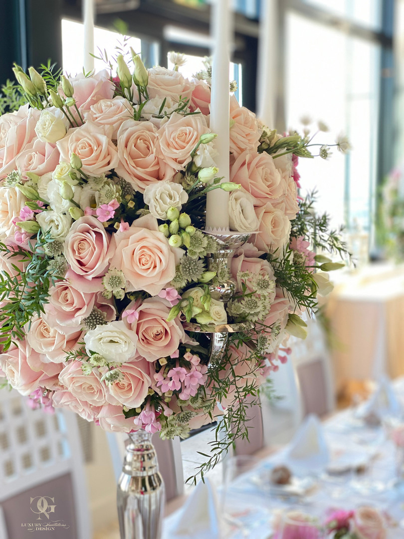 Romantic High Blushwedding Centerpiece