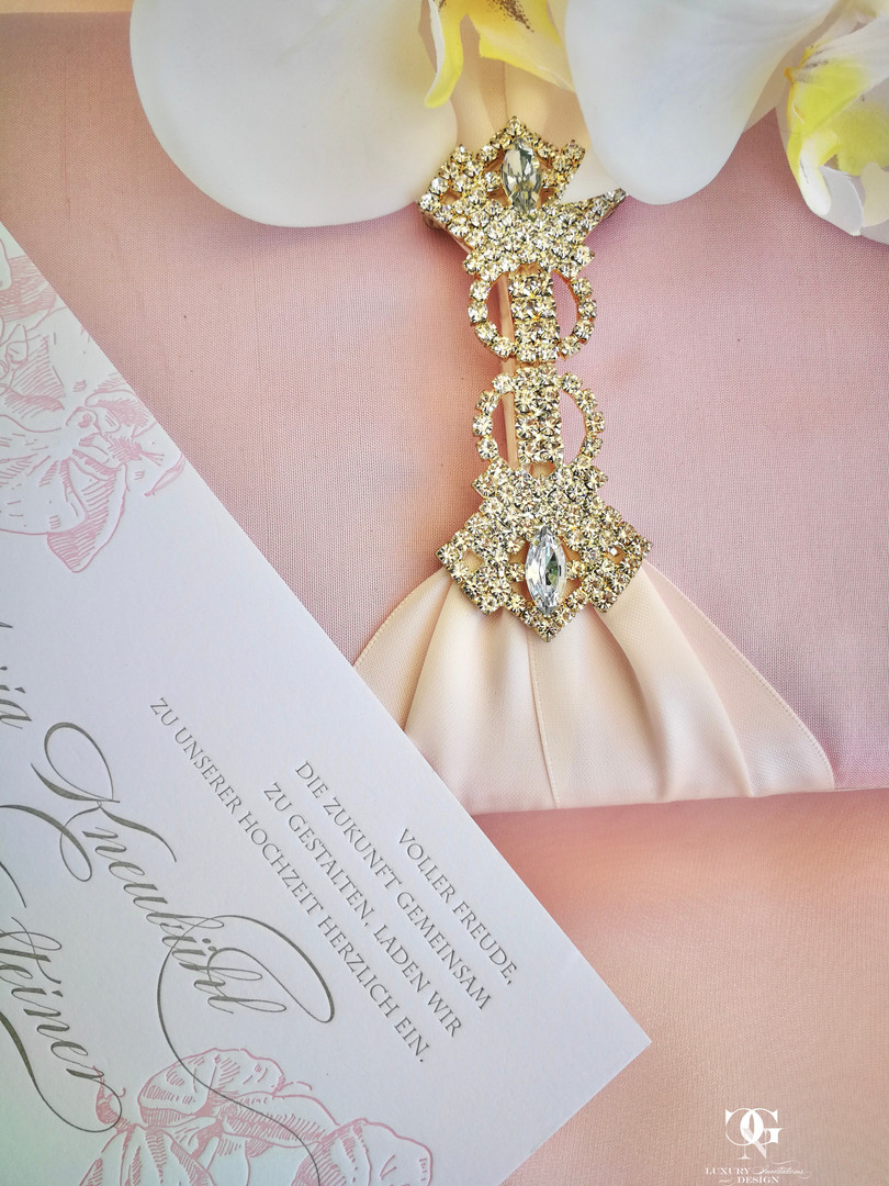 Pink Luxury Silk wedding invitation