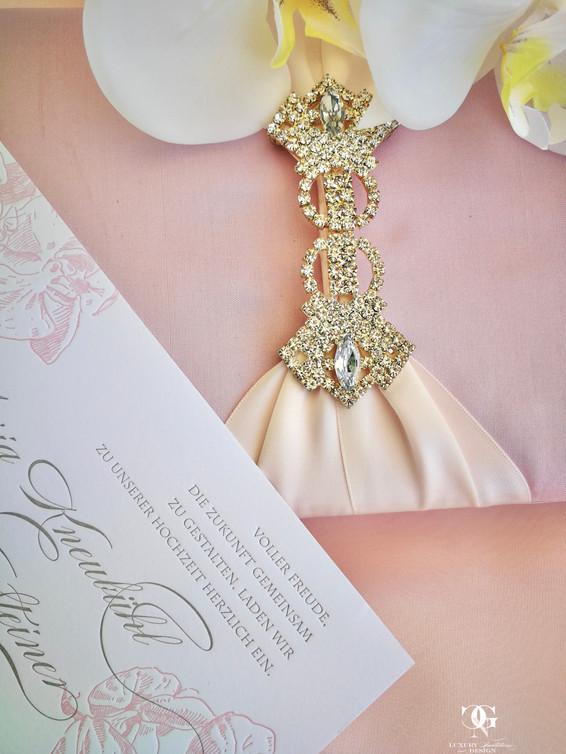 Pink Luxury Silk wedding invitation