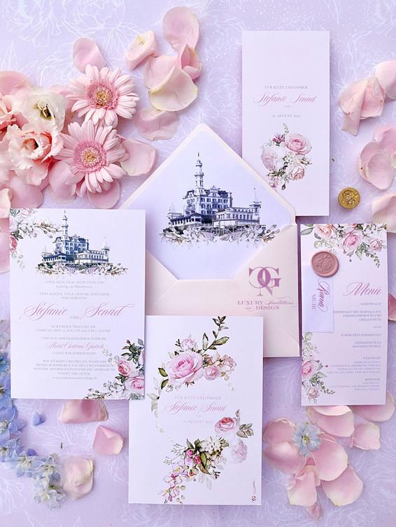 Château Gütsch romantische Hochzeitseinladung