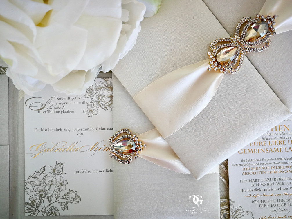 Ivory Silk wedding invitation with letterpress and hotfoil