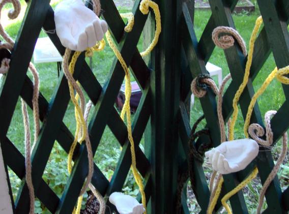 Garden of Affluence, 2011 (detail) Cast plaster, metal wire, yarn, vintage buttons, antique cauldron.