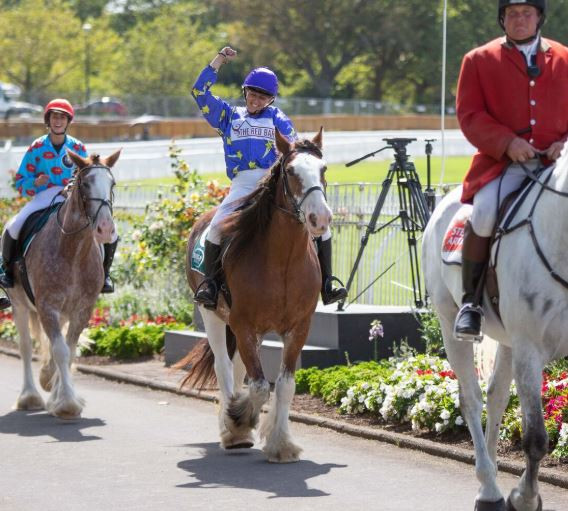 "Saara Soar and ""Frank the Tank"" returning to the birdcage after their win in the 2020 Dunstan Feeds Auckland Clydesdale Cup"