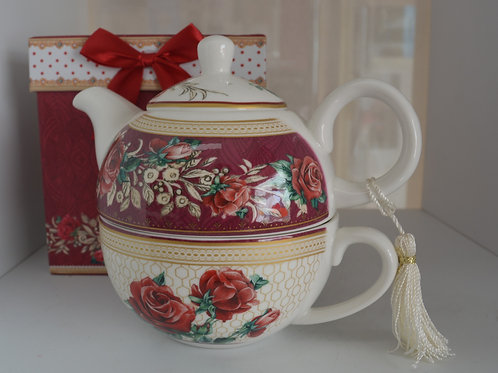 Red Rose Tea for One Set