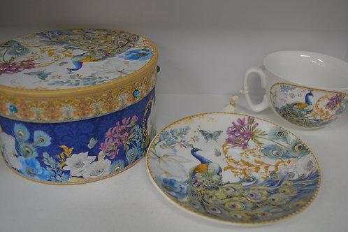 Peacock Tea Cup & Saucer