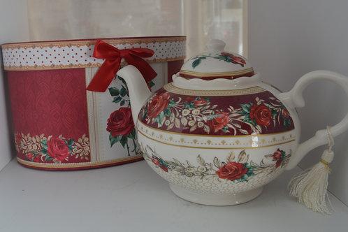Red Rose Tea Pot