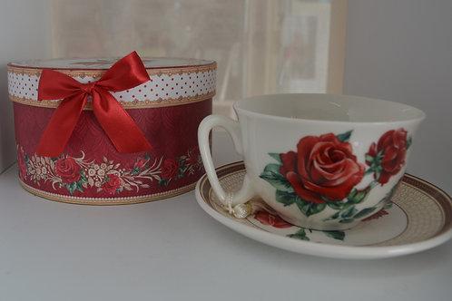 Red Rose Tea Cup & Saucer