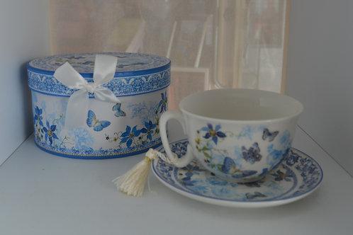 Blue Butterfly Tea Cup & Saucer