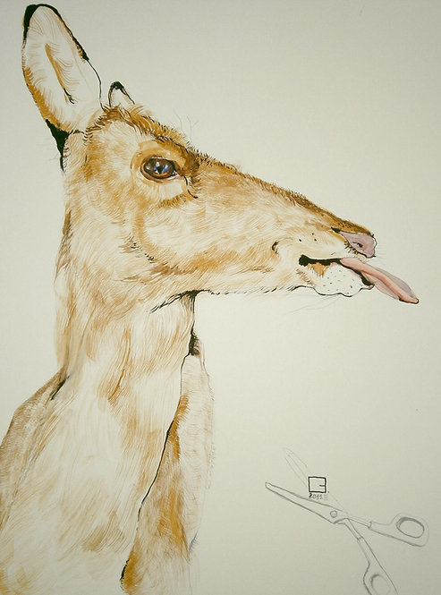 deer drawing with tongue out