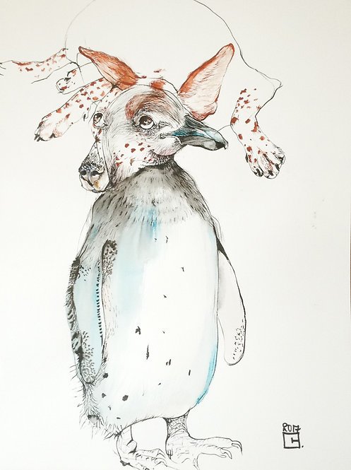 penguin drawing with dog