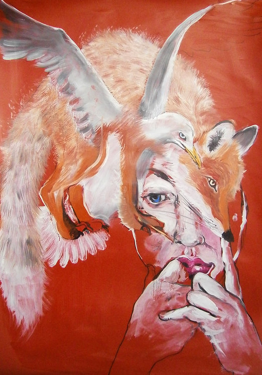 Full view of fox and bird painting