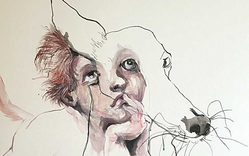dog art with kid