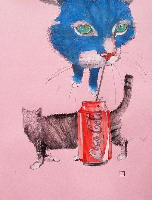 Blue cat with Coca Cola