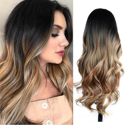 Wavy Ombre Black to Light Brown Wig