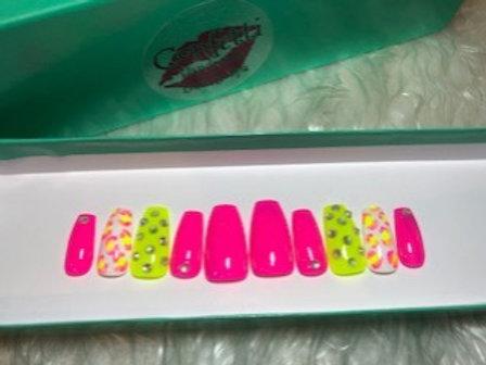 Neon Leopard Nail Set