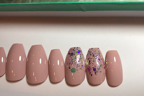 Nude with ChunkyGlitter Nail Set