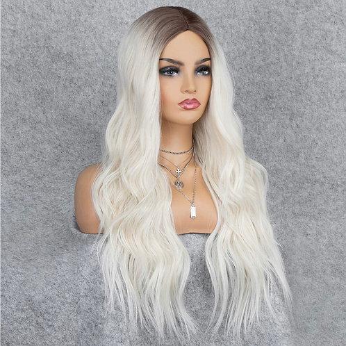 Platinum Blonde Dark Brown Root Fade Wig