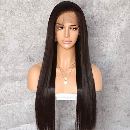 Dark Brown Long Straight Lace Front Wig