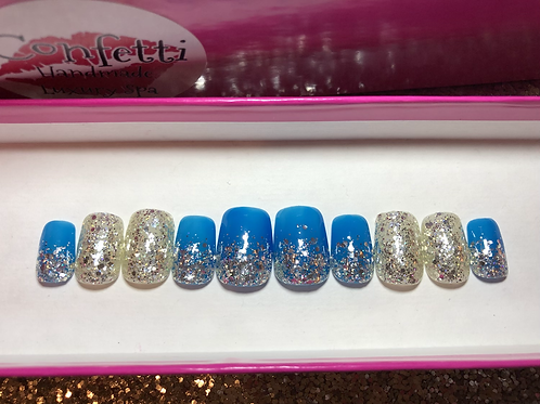 Blue Jelly & Silver Sparkle Nail Set